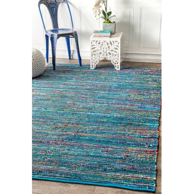 Fotou Hand Braided Cotton Blue Area Rug Rug Size: Rectangle 76 x 96