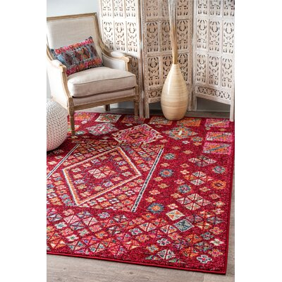 Damita Red/Pink Area Rug Rug Size: Rectangle 53 x 77