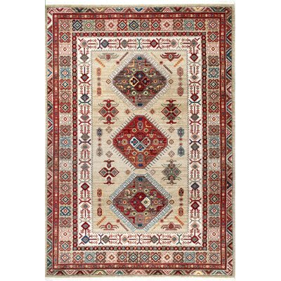 La Verne Light Beige/Red Area Rug Rug Size: 9 x 12