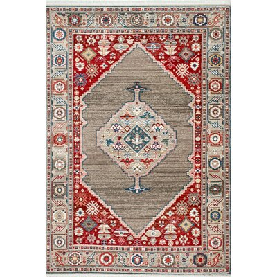 La Palma Tan/Red Area Rug Rug Size: Rectangle 5 x 75