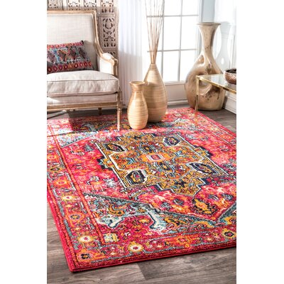 Daria Pink/Red Area Rug Rug Size: Rectangle 53 x 77