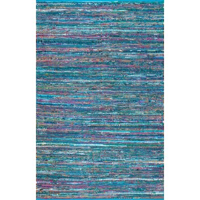 Fotou Hand Braided Cotton Blue Area Rug Rug Size: 76 x 96