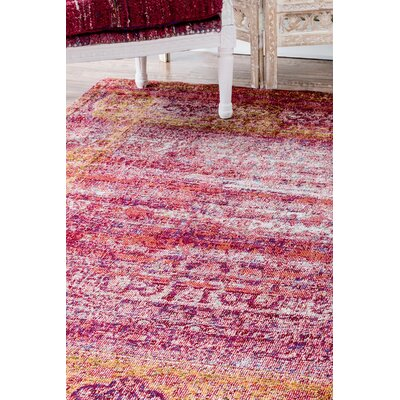 Fleur Fuchsia/Yellow Area Rug Rug Size: Rectangle 4 x 6