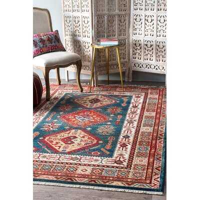 La Puente Blue/Red Area Rug Rug Size: Rectangle 9 x 12