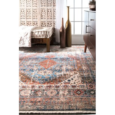 Houston Blue/Orange Area Rug Rug Size: Rectangle 6 7 x 9 4