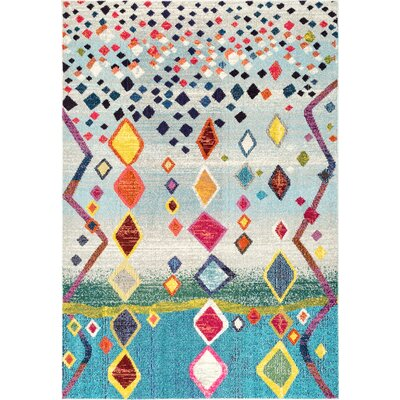 Cian Blue/Gray Area Rug Rug Size: 53 x 77