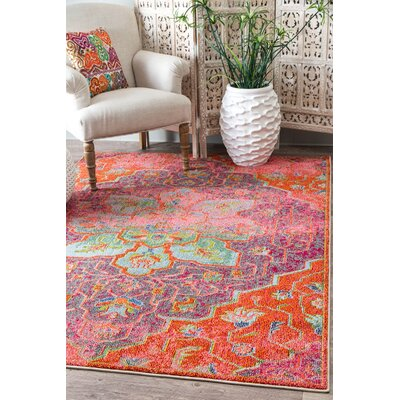 Marienville Orange/Pink Area Rug Rug Size: Rectangle 710 x 11