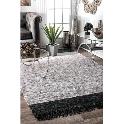 Emmert Hand-Woven Black/Silver Area Rug Rug Size: Rectangle 5 x 8
