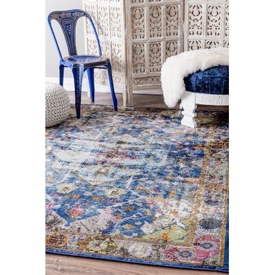Faustine Blue Area Rug Rug Size: Rectangle 5 x 8