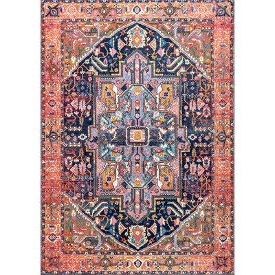Masardis Pink/White Area Rug Rug Size: 53 x 79