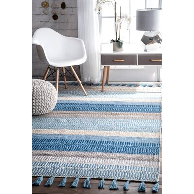 Velasco Handmade Indoor/Outdoor Light Blue Area Rug Rug Size: Rectangle 5 x 8