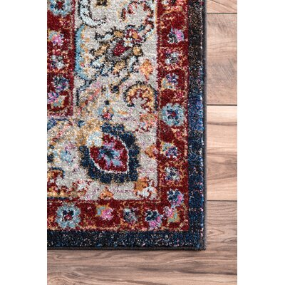 Maskito Brown/Blue Area Rug Rug Size: 5'3