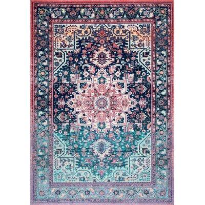 Poyner Pink/Blue Area Rug Rug Size: 53 x 79