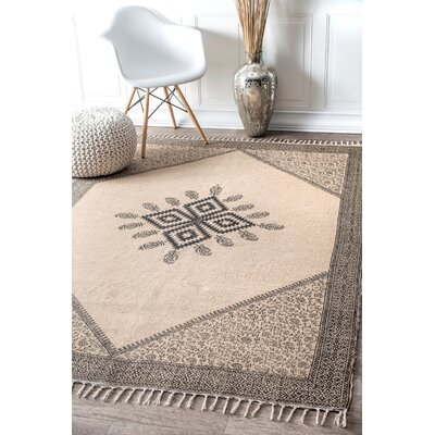 Marten Hand Woven Beige Area Rug Rug Size: Rectangle 7'6