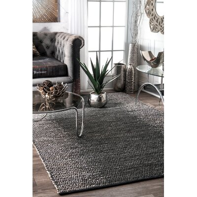 Duhon Hand-Woven Gray Area Rug Rug Size: Rectangle 76 x 96