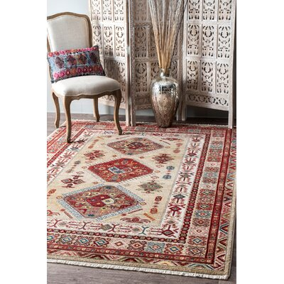 La Verne Light Beige/Red Area Rug Rug Size: Rectangle 5 x 75