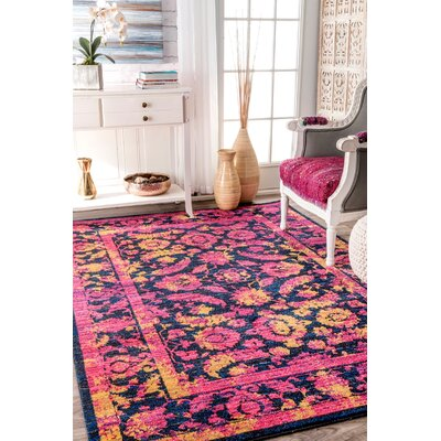 Maximus Fuchsia Area Rug Rug Size: Rectangle 76 x 96