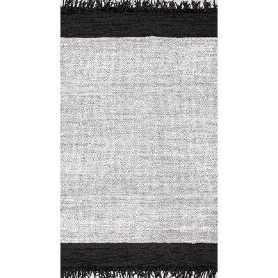 Emmert Hand-Woven Black/Silver Area Rug Rug Size: 76 x 96