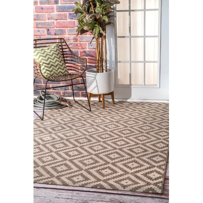 Ellzey Beige/Brown Outdoor Area Rug Rug Size: Rectangle 86 x 13