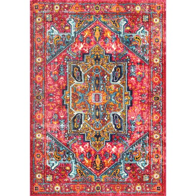 Daria Pink/Red Area Rug Rug Size: Rectangle 710 x 11