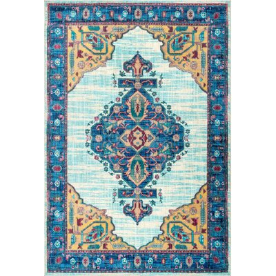 Deatonhill Light Blue Area Rug Rug Size: Rectangle 71 x 112