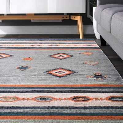 Hailer Hand Loomed Cotton Gray/Orange Area Rug Rug Size: Rectangle 6 x 9