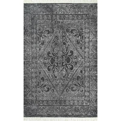 Leduc Hand Woven Wool, Cotton Dark Gray Area Rug Rug Size: Rectangle 76 x 96