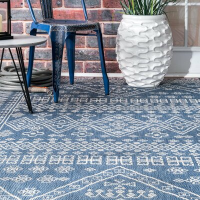 Zahara Blue Indoor/Outdoor Area Rug Rug Size: Rectangle 53 x 76