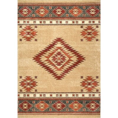 Oswego Beige/Red Area Rug Rug Size: Rectangle 5 x 75