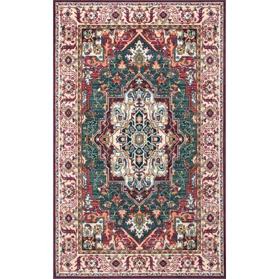 Monte Vista Ivory/Red/Green Area Rug Rug Size: Rectangle 8 x 10