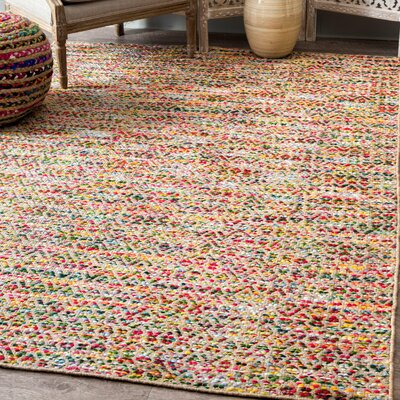 Napa Hand Loomed Yellow/Red/Blue Area Rug Rug Size: Rectangle 76 x 96