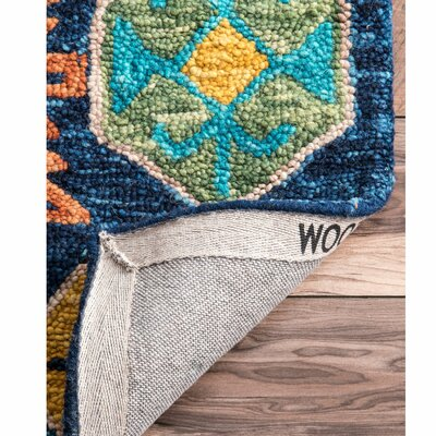 Adilcevaz Hand Tufted Wool Blue/Yellow Area Rug Rug Size: Rectangle 76 x 96