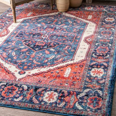 Bottlebrush Blue/Red Area Rug Rug Size: Rectangle 53 x 78