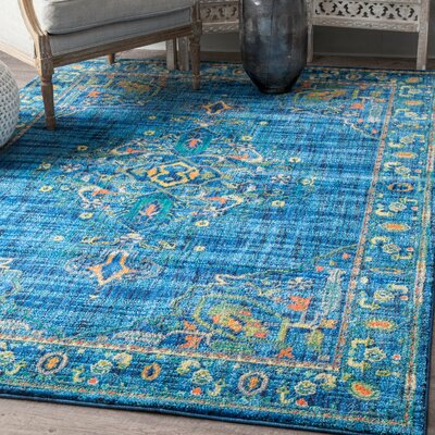 Curameng Blue Area Rug Rug Size: Rectangle 53 x 78