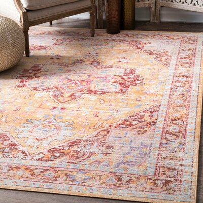 Hermosa Beach Orange Area Rug Rug Size: Rectangle 56 x 83