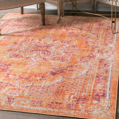 Baney Orange Area Rug Rug Size: Rectangle 43 x 66