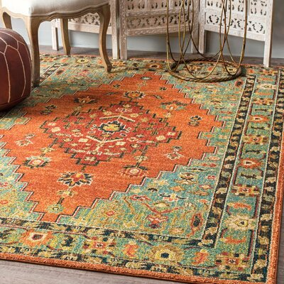 Bayfield Rust/Green Area Rug Rug Size: Rectangle 5 x 75