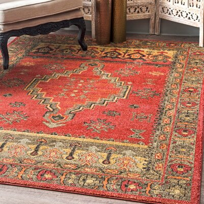 La Habra Red/Beige Area Rug Rug Size: Rectangle 4 x 6