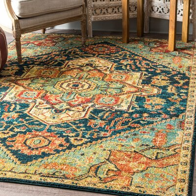 Bluff Trail Green/Beige Area Rug Rug Size: Rectangle 4 x 6