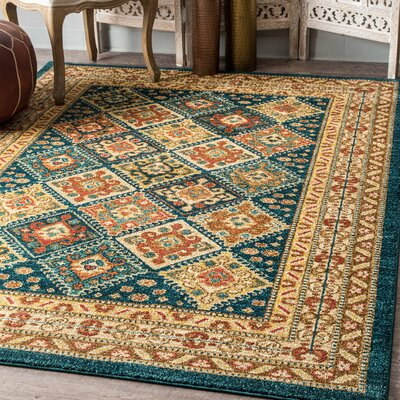 Kerman Green/Beige Area Rug Rug Size: Rectangle 5 x 75