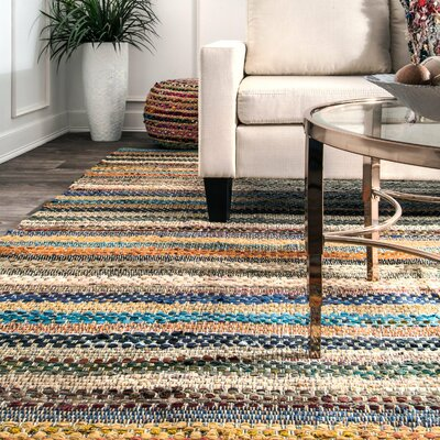 Dana Point Hand Loomed Cotton Gray/Beige Area Rug Rug Size: Rectangle 5 x 8