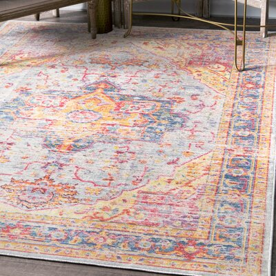 Moore Haven Light Blue/Red/Yellow Area Rug Rug Size: Rectangle 43 x 66