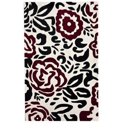 Cine Hand-Tufted Ivory Black/Red Area Rug Rug Size: Rectangle 5 x 8