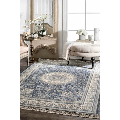 Miloe Hand Woven Wool, Cotton Blue Area Rug Rug Size: Rectangle 5 x 8