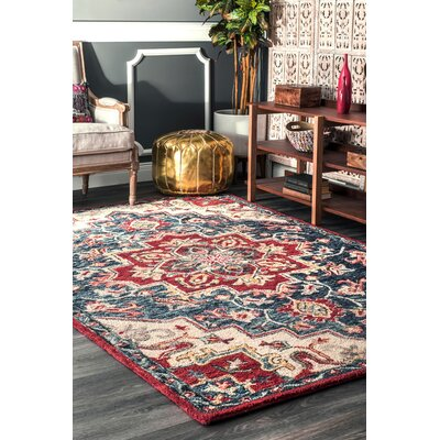 Graysen Hand Tufted Wool Red Area Rug Rug Size: Rectangle 4 x 6