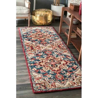 Graysen Hand Tufted Wool Red Area Rug Rug Size: Runner 26 x 8