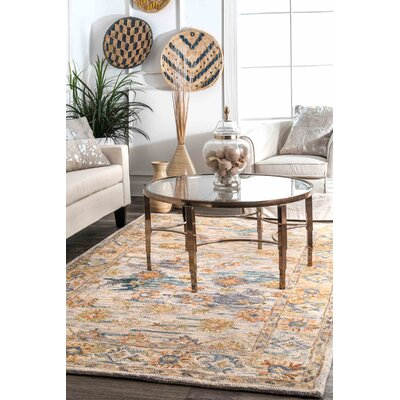Morre Traditional Hand Tufted Wool Beige Area Rug Rug Size: Rectangle 5 x 8