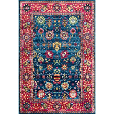 Vicki Blue/Red Area Rug Rug Size: Rectangle 4' x 6'