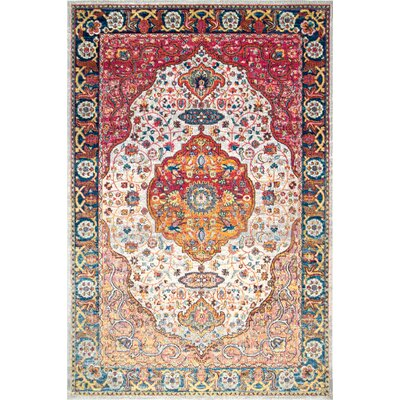 Vickie Orange/Red Area Rug Rug Size: Rectangle 9 x 12
