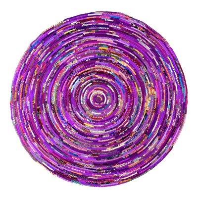 Verna Purple Area Rug Rug Size: Round 6
